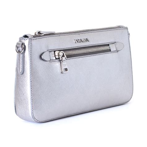 Prada Instan prada evening clutch bag silver leather ref a101334