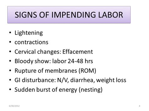 signs of labor labor and delivery lecture ppt