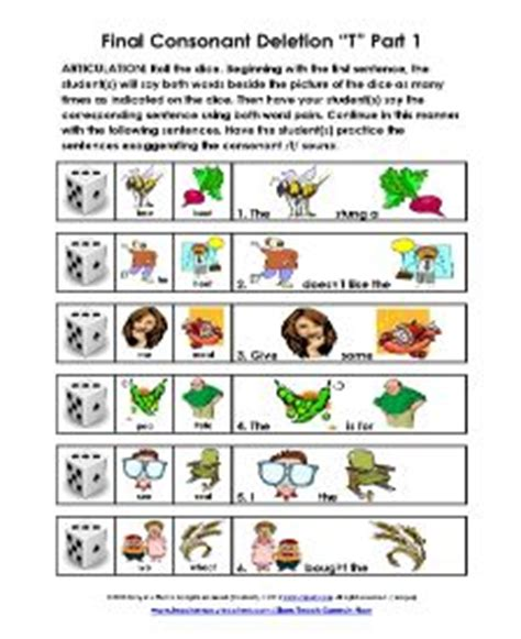 consonant deletion worksheets free weekly activity from teach speech now consonant deletion of t five pages go to