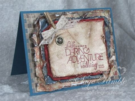 Handmade Vintage Cards - handmade vintage card daring adventure sting madly