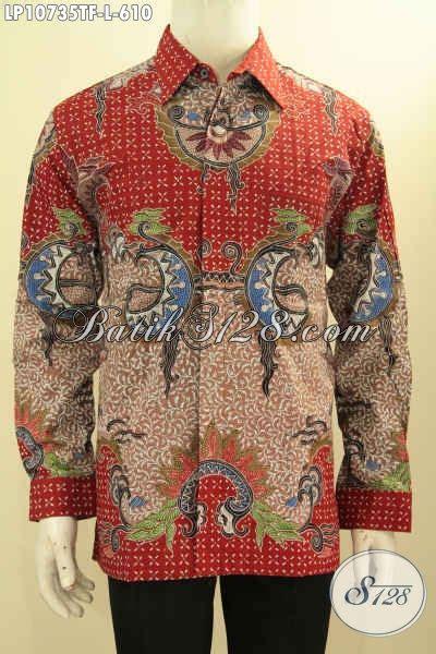 Valentinecoming Pakaian Atasan Kemeja Pria Lengan Panjang Hem Whit 2 hem batik motif mewah baju batik atasan lengan panjang