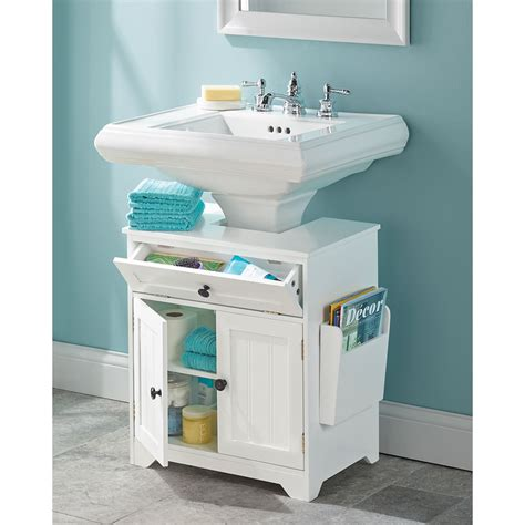 Bathroom Cabinets Sink Storage The Pedestal Sink Storage Cabinet Hammacher Schlemmer
