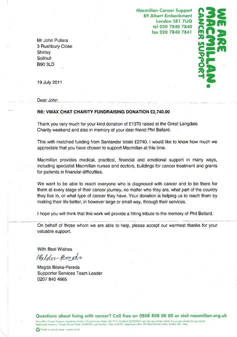 charity collection letter letter from macmillan cancer support ref collection in