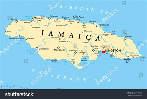 jamaica map with cities jamaica political map capital kingston important stock