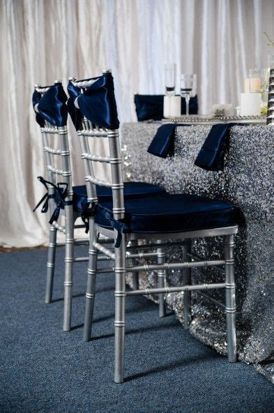 Glamorous Navy, Silver, and White Winter Wedding