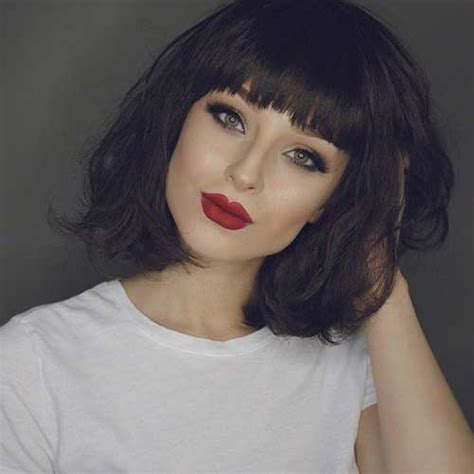 short brunette hairstyles bangs 20 brunette bob hairstyles bob hairstyles 2017 short