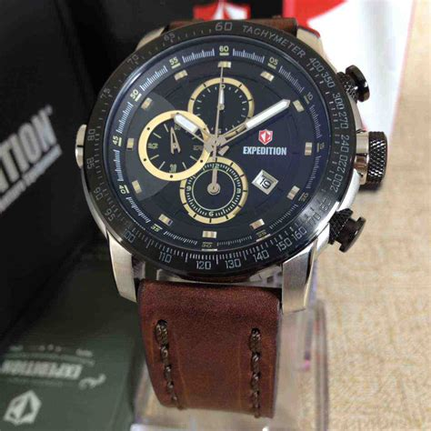 Jam Tangan Expedition 6392 Brown jual expedition 6372 white steel brown leather baru