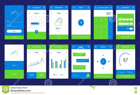layout design for mobile application ui ux and gui template layout for mobile apps stock