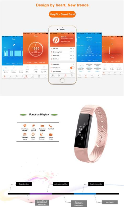 android step counter id115hr rate monitor smart bracelet fitness tracker step counter wristband for android ios