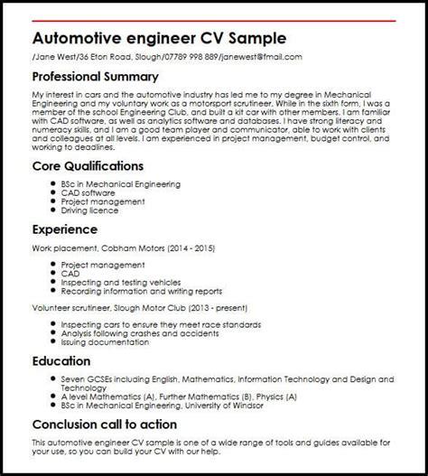 Automotive Resume by Automotive Engineer Cv Sle Myperfectcv