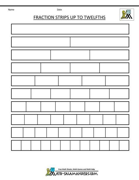 printable math worksheets homeschool math salamanders printable fraction strips up to twelfths