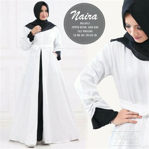 Dress Nira Gamis Nira jual baju gamis pesta muslim naira dress white murah