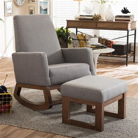 Upholstered Chair And Ottoman Sets Baxton Studio Yashiya Mid Century Gray Fabric Upholstered Rocking Chair And Ottoman Set 6817