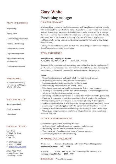 Free Sle Resume Purchasing Manager Management Cv Template Managers Director Project Management Cv Exle