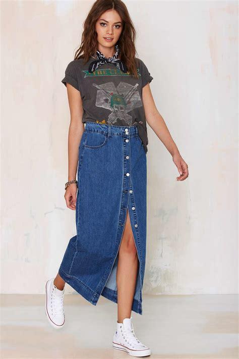 Maxi Denim Lipat 1 lyst glamorous of one mind denim maxi skirt in blue