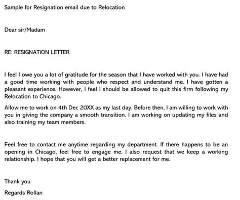 sample resignation letter due moving state