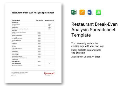 restaurant even analysis template restaurant even analysis spreadsheet template in