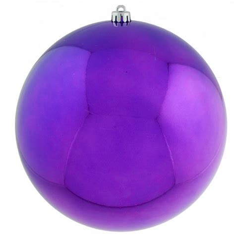purple baubles shiny shatterproof single 300mm