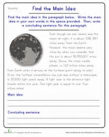 find the main idea the moon worksheet education com