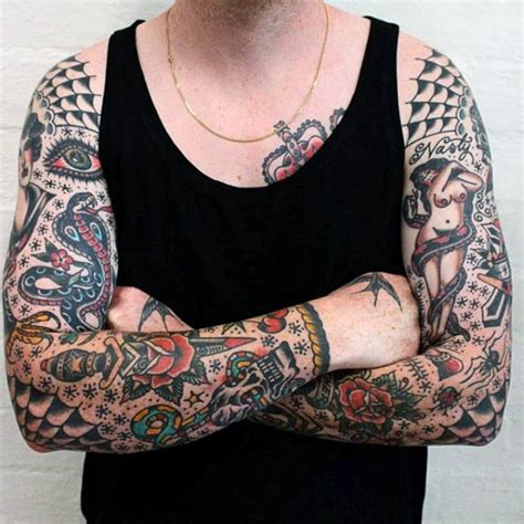 american traditional sleeve tattoo 100 american traditional tattoos for school designs