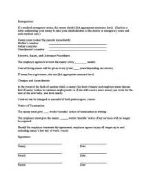 Babysitting Contract Template by Sle Nanny Contract Free