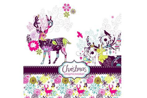 christmas deer snowflakes clip art illustrations creative market