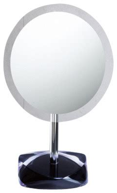 hacienda white wall mounted rgb led mirror contemporary magnifying mirror with round colored base black modern