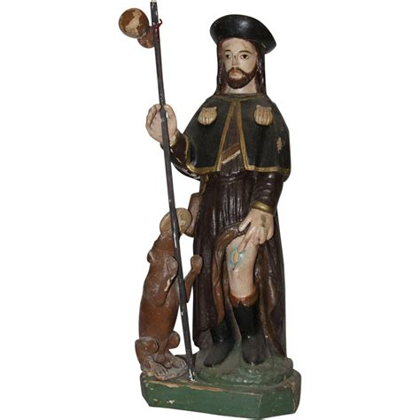St Rok 19th century sculpture of roch rock wood carved