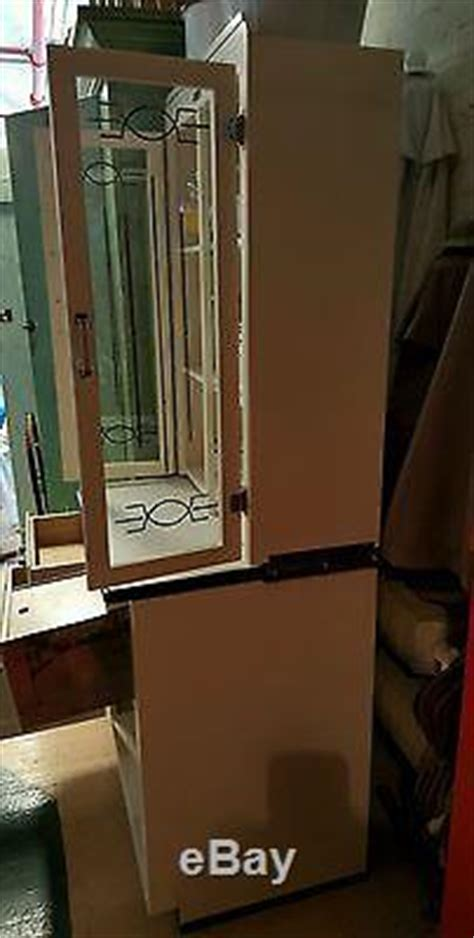 rare junior hoosier cabinet glass front doors bread drawer enamel top sellers