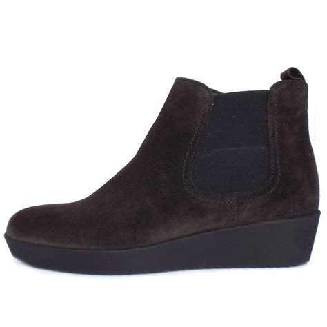 wedge ankle boots gabor ghost s low wedge ankle boots in grey suede