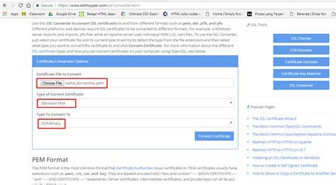 tutorial convert ssl certificate  format ssl lain