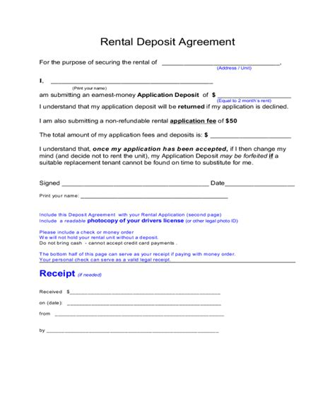 rental deposit form 2018 rental deposit form fillable printable pdf forms