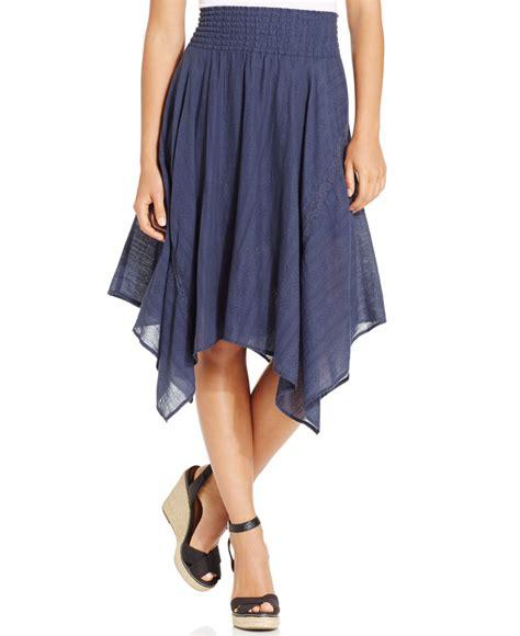 dkny textured handkerchief hem skirt in blue lyst