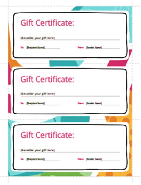 gift certificate template free download create fill print