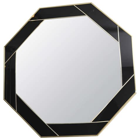 Acrylic Mirror hexagonal aperture brass and black acrylic mirror at 1stdibs