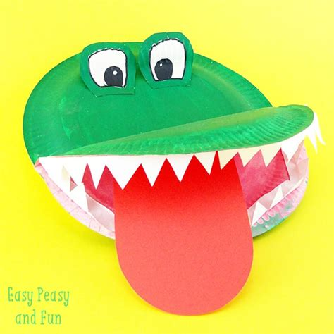 How To Make Paper Plate Crafts - crocodile paper plate craft easy peasy and