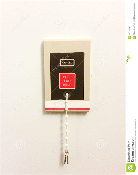 emergency light with cord emergency call light on wall of building stock