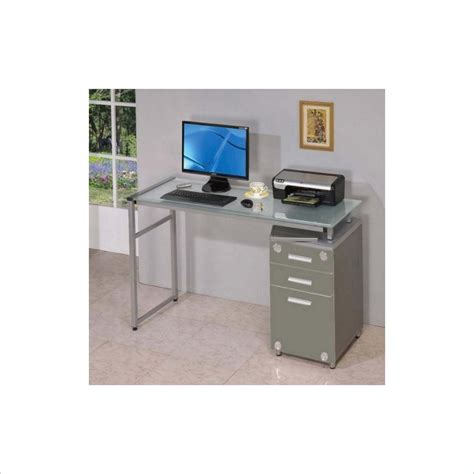Silver Computer Desk Techni Mobili Complete Workstation W Drawers Silver Gray