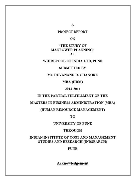 Mba Project Report On Manpower Planning by Manpower Planning