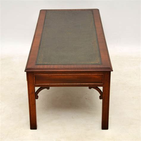 large antique georgian style mahogany leather top coffee