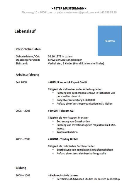 Cv Muster by Curriculum Vitae Cv Lebenslauf Vorlage Muster Vorlage Ch