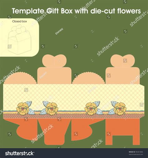 flower die cut template template gift box diecut flowers stock vector