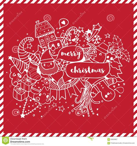 doodle merry merry doodle drawing white on stock vector