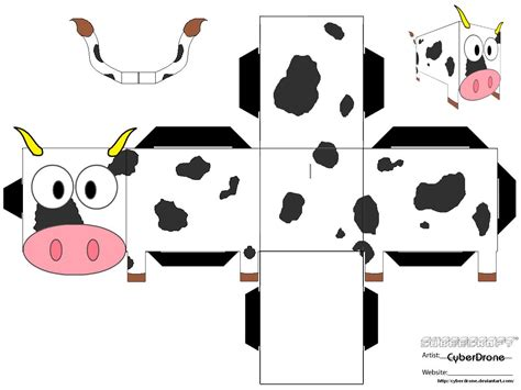 Papercraft Pattern - cow paper free printable papercraft templates