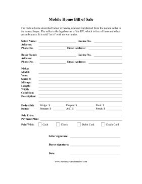 mobile home bill of mobile home bill of template