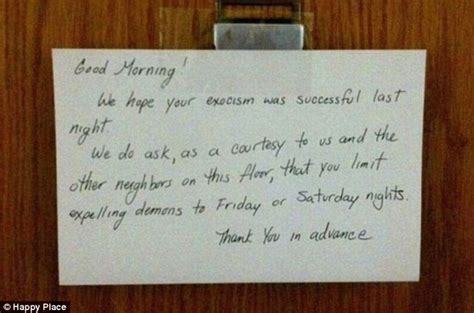 Hilarious anonymous notes left on neighbours' doors