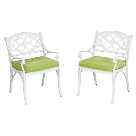 Patio Chair Cushions White Home Styles Biscayne White Patio Arm Chair With Cushions
