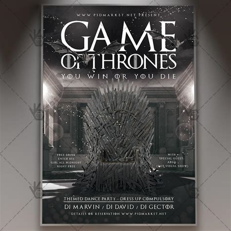 Of Thrones Photoshop Template Game Of Thrones Premium Flyer Psd Template Psdmarket