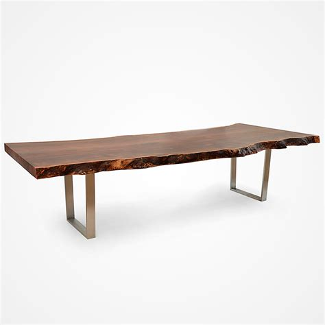Steel Base Dining Table Claro Walnut Slab Dining Table Stainless Steel Base 001 Rotsen Furniture