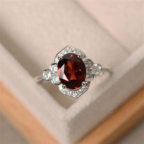 silver garnet ring oval garnet ring engagement ring